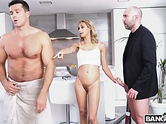 Aphoristic tits blonde wife Veronica Leal gets fucked by two dudes