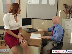 Hot Samoan milf Serena Ali seduces Johnny Sins and gets fucked on the office directors
