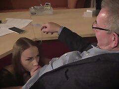 Amazing brunette with glasses is having a ffm triple at work and enjoying it a in the midst
