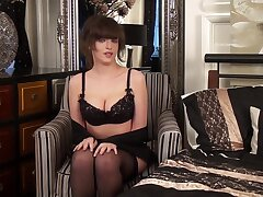 Lecherous British unshaded is playing with herself spreading stockings legs