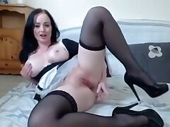 Naughty Brunette Maid In Lingerie Exposes The brush Curves And Mummy