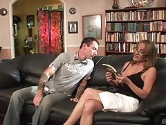 Hardcore shacking up on slay rub elbows with leather sofa with fake boobs MILF Sophia Soleil