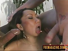 Spit-roast threesome with bushwa hungry Asian MILF who loves cum