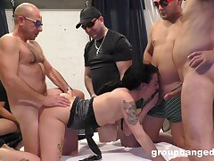 Aroused woman gangbang fucked in a submissive XXX play