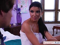 Super sexy dad's GF Romi Rain sucks a dick and allows to dive deep in her pussy
