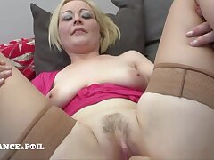 Blond Hair Babe Mommy Relating to Large-bosomed Opalescent Tits